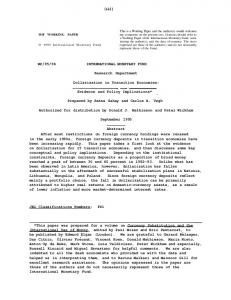 WP/95/96 INTERNATIONAL MONETARY FUND ... - SSRN papers
