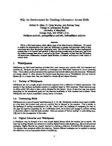 WQ: An Environment for Teaching Information Access ... - Robert B. Allen