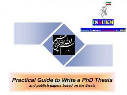 Write a PhD Thesis and publish papers - Nader Ale Ebrahim