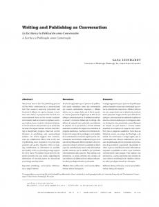 Writing and Publishing as Conversation - SciELO Colombia