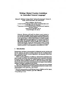 Writing Clinical Practice Guidelines in Controlled Natural Language*