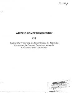 writing competition entry - UNM Digital Repository