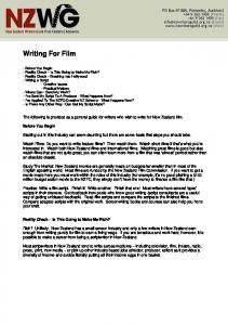 Writing For Film - New Zealand Writers Guild