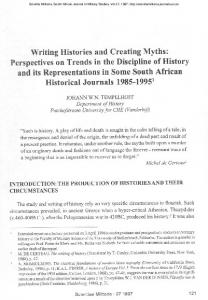 Writing Histories and Creating Myths: Perspectives ... - Scientia Militaria