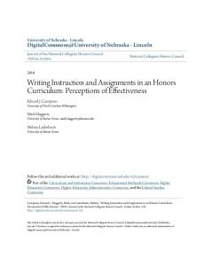 Writing Instruction and Assignments in an Honors Curriculum ...