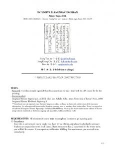 WT Korean Syllabus 1st draft - Elementary Korean