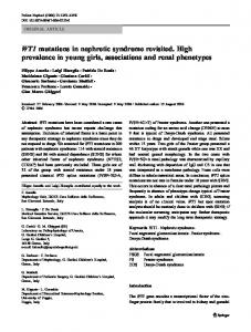 WT1 mutations in nephrotic syndrome revisited. High ... - Springer Link