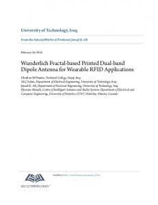 Wunderlich Fractal-based Printed Dual-band Dipole Antenna for ...