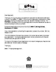 WWHT Rental Housing Application Form available here.