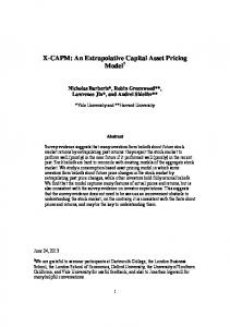 X-CAPM: An Extrapolative Capital Asset Pricing ... - Yale University
