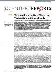 X-Linked Retinoschisis: Phenotypic Variability in a
