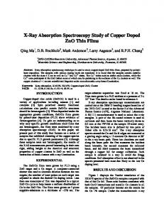 X-Ray Absorption Spectroscopy Study of Copper Doped ZnO ... - SLAC