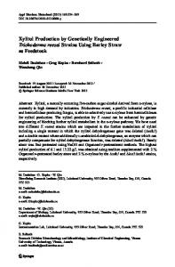 Xylitol Production by Genetically Engineered ... - Springer Link