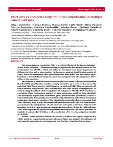 YAP1 acts as oncogenic target of 11q22 amplification ... - BioMedSearch