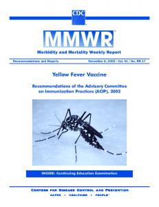 Yellow Fever Vaccine - Centers for Disease Control and Prevention