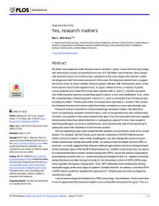 Yes, research matters - PLOS