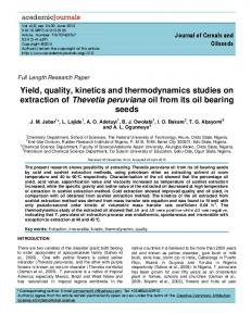 Yield, quality, kinetics and thermodynamics ... - Academic Journals