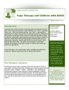 Yoga Therapy and Children with ADHD - University of Vermont