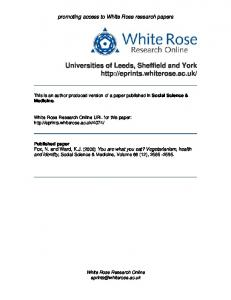 You are what you eat? - White Rose Research Online