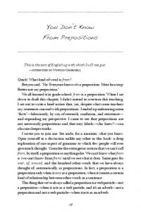 You Don't Know From Prepositions - How to Write