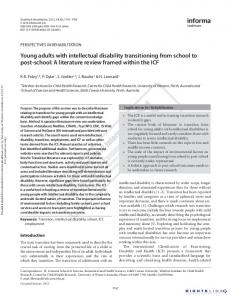 Young adults with intellectual disability transitioning ...