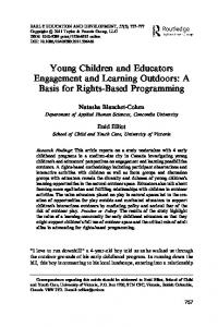 Young Children and Educators Engagement and Learning Outdoors ...