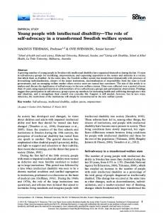 Young people with intellectual disability*The role of self-advocacy in a ...