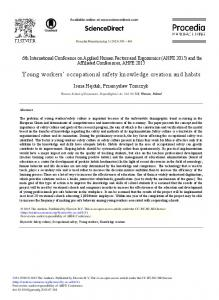 Young Workers' Occupational Safety Knowledge Creation ... - CiteSeerX