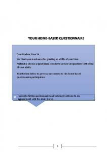 your home-based questionnaire