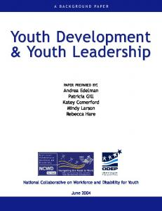 Youth Development & Youth Leadership Youth Development
