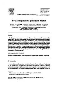 Youth employment policies in France - Crest
