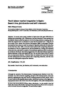 Youth labour market integration in Spain: Search time, job duration ...