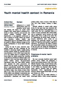 Youth mental health context in Romania