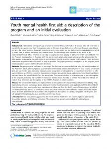 Youth mental health first aid - International Journal of Mental Health ...