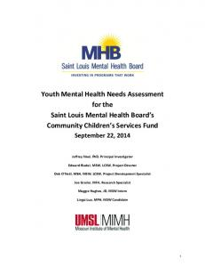 Youth Mental Health Needs Assessment for the Saint Louis Mental ...