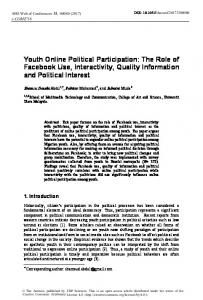 Youth Online Political Participation: The Role of Facebook Use ...