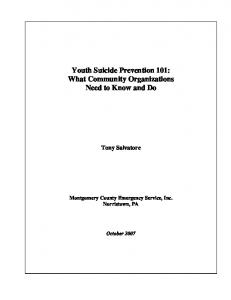 Youth Suicide Prevention 101: What Community ...