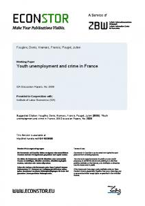 Youth Unemployment and Crime in France - EconStor