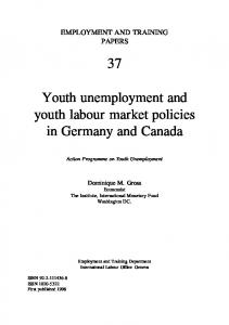 Youth unemployment and youth labour market policies in ... - CiteSeerX