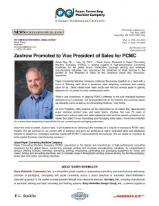 Zastrow Promoted to Vice President of Sales for PCMC - Paper ...