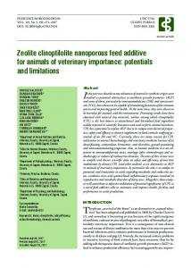 Zeolite clinoptilolite nanoporous feed additive for animals of veterinary ...