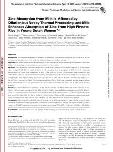 Zinc Absorption from Milk Is Affected by Dilution but ...