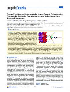 Zinc-Directed Heterometallic Uranyl ... - ACS Publications