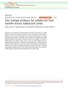 Zinc isotope evidence for sulfate-rich fluid transfer across ... - Core