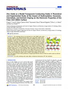 Zinc Oxide as a Model Transparent Conducting Oxide: A Theoretical ...