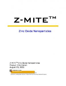 Zinc Oxide Nanoparticles - American Elements