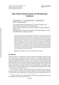 Zinc Oxide Nanostructures by Solvothermal Synthesis - Repositorio ...
