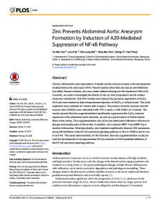 Zinc Prevents Abdominal Aortic Aneurysm