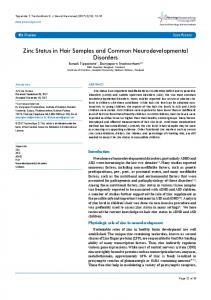 Zinc Status in Hair Samples and Common ...