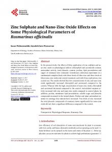 Zinc Sulphate and Nano-Zinc Oxide Effects on Some Physiological ...